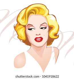 Hand made portrait of american icon Marilyn Monroe,vector illustration.