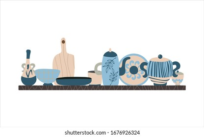 Hand made pottery vector background for home and restaurant, hand made shop.   Ceramics or pottery banner to promote your studio. Hand drawn flat wallpaper.