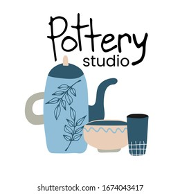 Hand made pottery vector illustration for home and restaurant, hand made shop. Ceramics or pottery banner to promote your studio. Hand drawn flat logotype.
