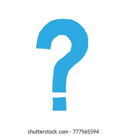 Hand made question mark. Imprint - linocut. Blue sign isolated on a white background. Vector illustration. Eps 10.