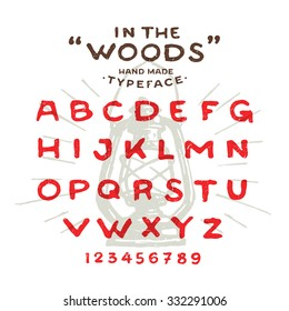 Hand Made Rustic Typeface In The Woods Custom Handwritten Alphabet Drawn Letters