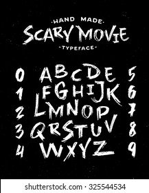 Hand Made Scribble Font 'Scary Movie'. Custom handwritten alphabet. Handwritten Letters and Numbers. Vintage retro textured hand drawn typeface grunge effect. Vector illustration.