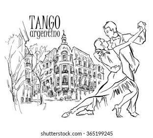 Hand made sketch of tango dancers with city background. Vector illustration. Use for tango studio posters, flayers, web-sites. Tango inscription.