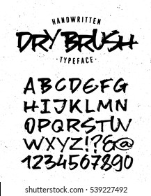 Hand Made Typeface 'Dry Brush'. Custom handwritten alphabet. Original Letters and Numbers. Vintage retro textured hand drawn type with grunge effect. Vector illustration