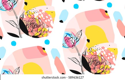 Hand made vector abstract textured trendy creative universal collage seamless pattern with floral peony motif isolated on white background with different textures and shapes.Modern spring design.