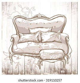 Hand made vector sketch of cozy interior fragment.