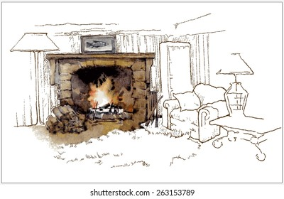 Hand made vector sketch of old fireplace