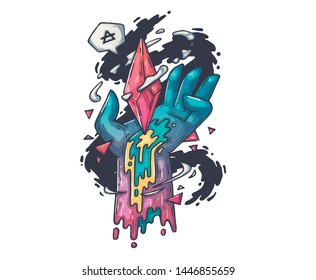hand with magic crystal. Cartoon illustration for print and web. Character in the modern graphic style.