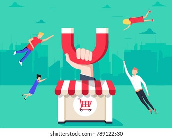 Hand with magnet attracting customers to the shop with shopping carts. Customer retention concept with shop tries to appeal clients. Capturing people with marketing Modern style illustration