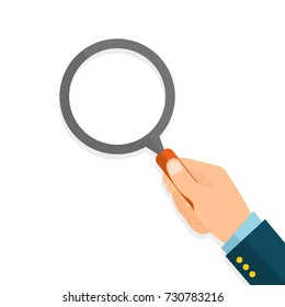 Hand with a magnifying glass. Flat style on white background - stock vector.