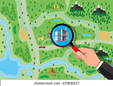Hand with magnifying glass selects house. Village, trees, road, sky and clouds. Real estate, sale and rent house. Vector illustration in flat style