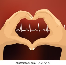 Hand making heart sign on pulse background. Hands in the form of heart vector illustration.