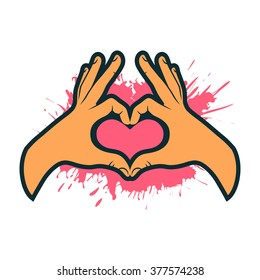 Hand making heart sign. Heart shape hand. Valentines card. Vector illustration.