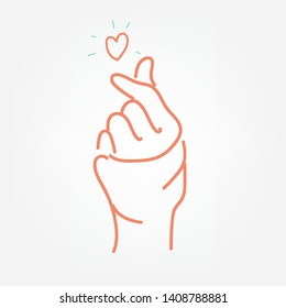 Hand making mini heart sign. vector