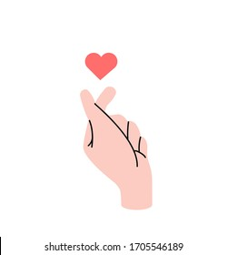 hand making mini heart sign symbol vector