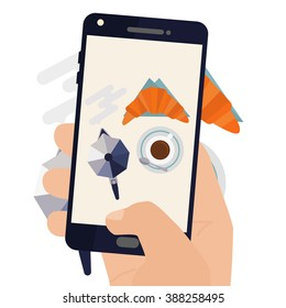 Hand making a smartphone photo of breakfast coffee and croissant. Modern trend taking pictures of food in restaurants.  Flat design vector illustration.