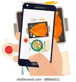 手工制作的智能手机照片晚餐烤火鸡和蔬菜. 现代趋势采取食品在餐馆的照片。 平面设计矢量插图。