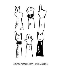 hand making various gesture