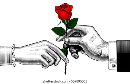Hand of man give a red rose to woman. Retro style valentine greeting card design. Vintage color engraving stylized drawing. Vector illustration