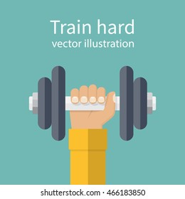 Hand of man holding a dumbbell. Vector illustration of a flat design. Weight lifting, train hard concept. Sports lifestyle.