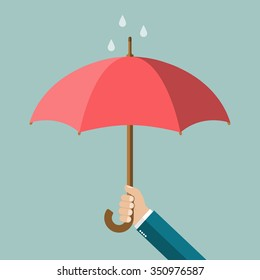 Hand of man holding an umbrella. Vector illustration