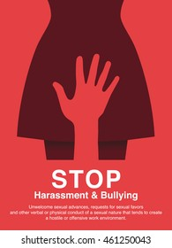 Hand of a man molest woman. Sexual harassment,Violence against women, Workplace bullying concept poster.