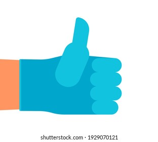Hand man in protective glove with thumb up, gesture medical like. Clean, higiene hand. Vector flat illustration
