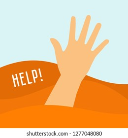 Hand of a man sinking in a puddle of quicksand. Help, SOS signal. Quicksand danger.  Flat vector illustration.