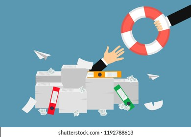 The hand of a man sticking out of a pile of papers another hand is stretching a lifebuoy wanting to help Helping Business to survive Drowning businessman getting  lifeline from another business person