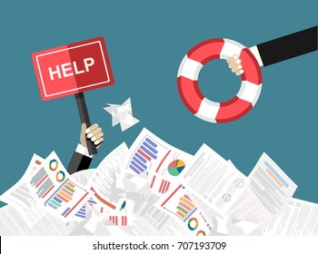 The hand of a man sticks out of a pile of papers. Another person is stretching a lifeline and wants to help. Helping Business to survive. Drowning businessman getting lifebuoy from another businessman
