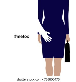 "Hand of a man touching the back of a woman. Sexual harassment, "" metoo "" concept. illustration isolated on white background. VECTOR"