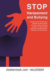 Hand of a man touching woman butt. Sexual harassment,Violence against women, Workplace bullying concept poster.