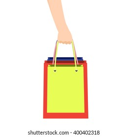 Hand with many shopping bag. Sales and shopping concept. Vector illustration.