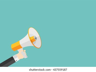 Hand with Megaphone and Place for Your Text Vector Illustration EPS10