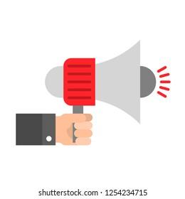 Hand with megaphone vector illustration, flat design icon