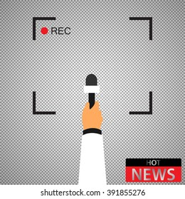 Hand with microphone. Recording frame. Hot news.  Checkered background