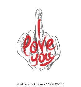 Hand, middle finger. Fuck you, symbol. I love you. Inscription. Vector illustration