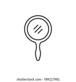 Hand mirror line icon.
