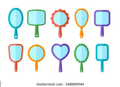 Hand mirrors with light reflection. Blank handheld makeup mirrors. Flat icon set. Female beauty accessories. Isolated objects on white background