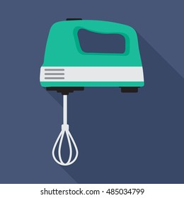 hand mixer icon or button in flat style with long shadow, isolated vector illustration on blue transparent background