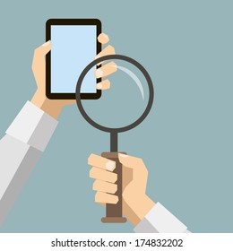 hand with a mobile device magnifying glass search network concept illustration