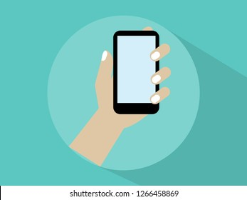 Hand with mobile phone icons