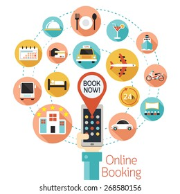 Hand and Mobile Phone Online Booking Icons,  Hotel,  Transportation, Services