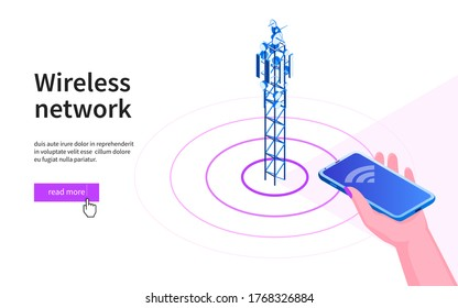 Hand with mobile phone pointing towards the antenna. 5G network wireless technology. Broadcasting tower for high speed internet communication. Isometric vector illustration