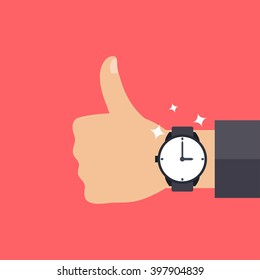 Hand with modern watch, thumbs up, men fashion vector illustration