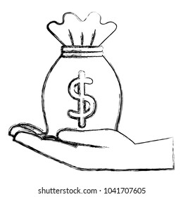 hand with money bag isolated icon
