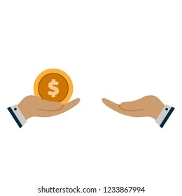 hand with money gives in hand. concept of lending