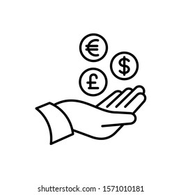 Hand with money icons. Tax return, vat refund or other money back operations symbol. Coins of different currency signs. Return on investment ROI concept. Adjustable stroke width.