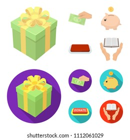 Hand with money for poshestvovaniya, a piggy bank for charity, a button with an inscription, a book for the blind in their hands. Charity and donation set collection icons in cartoon,flat style vector