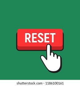 Hand Mouse Cursor Clicks the Reset Button. Pointer Push Press Button Concept.